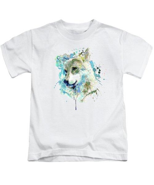 Watercolor Wolf Portrait Kids T-Shirt