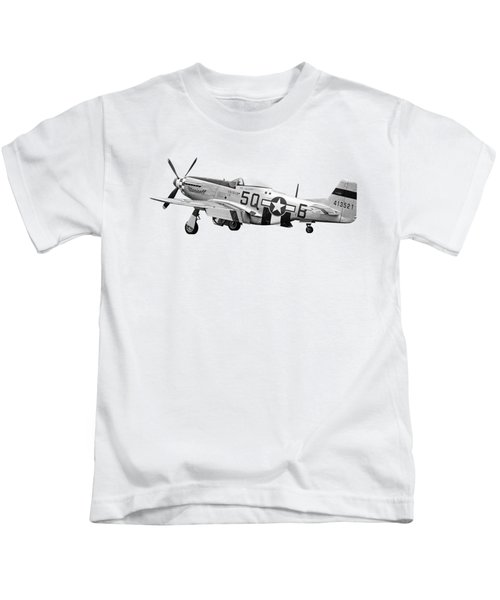 Well Earned Rest P-51 In Black And White Kids T-Shirt