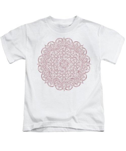 Whimsical Burgundy Mandala Kids T-Shirt