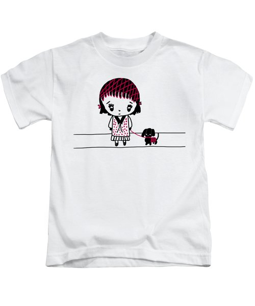 Whimsy Girl And Dog In Black And Red Kids T-Shirt