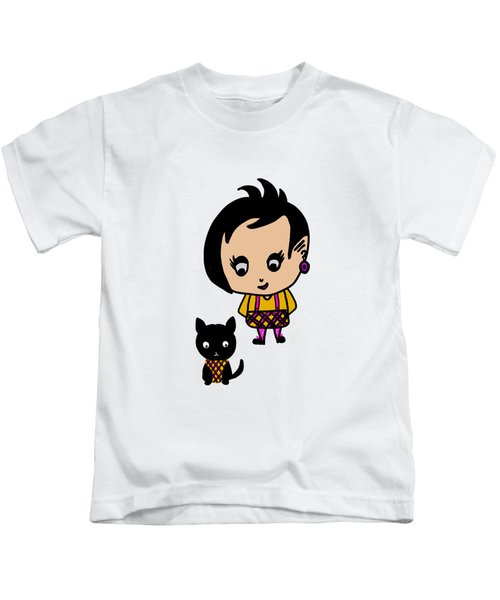 Whimsy Girl And Dog In Tartan Kids T-Shirt