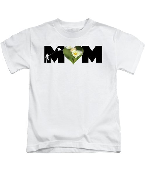 White Cosmos In Heart With Little Boy Mom Big Letter Kids T-Shirt