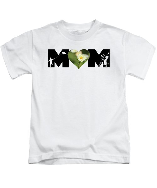 White Cosmos In Heart With Little Girl And Boy Mom Big Letter Kids T-Shirt