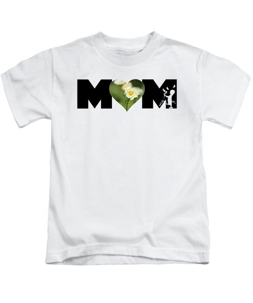 White Cosmos In Heart With Little Girl Mom Big Letter Kids T-Shirt