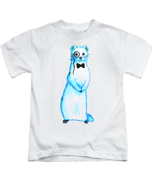 White Ferret Hipster With Monocle And Bow Tie / Watercolor Drawing Kids T-Shirt