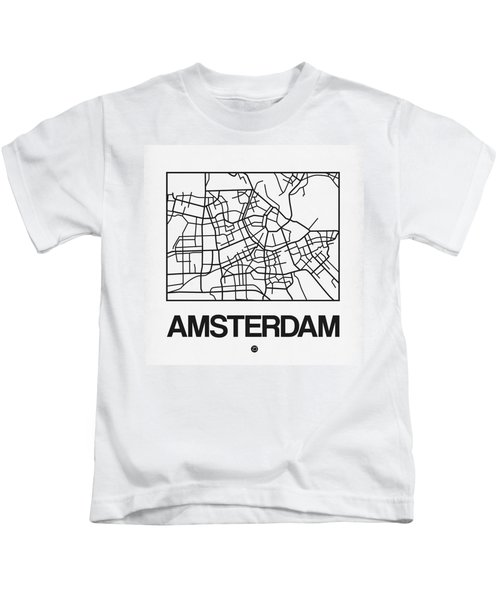 White Map Of Amsterdam Kids T-Shirt