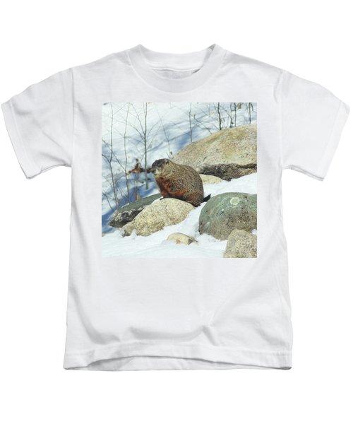 Winter Groundhog Kids T-Shirt