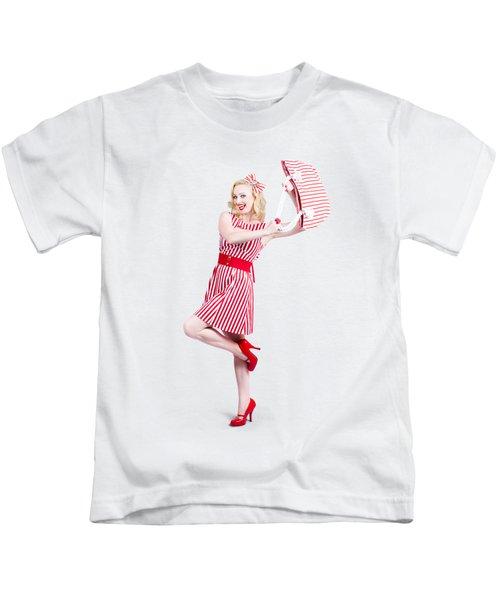 Woman Posing With Hand Bag Kids T-Shirt