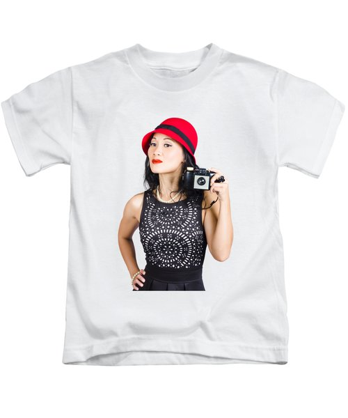 Woman With An Old Camera Kids T-Shirt