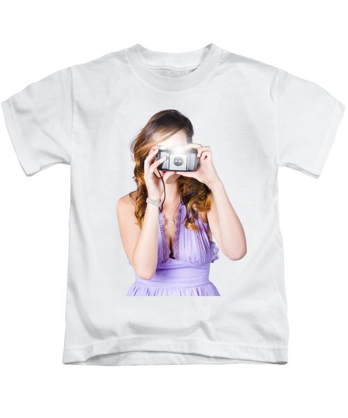 Woman With Camera On White Background Kids T-Shirt