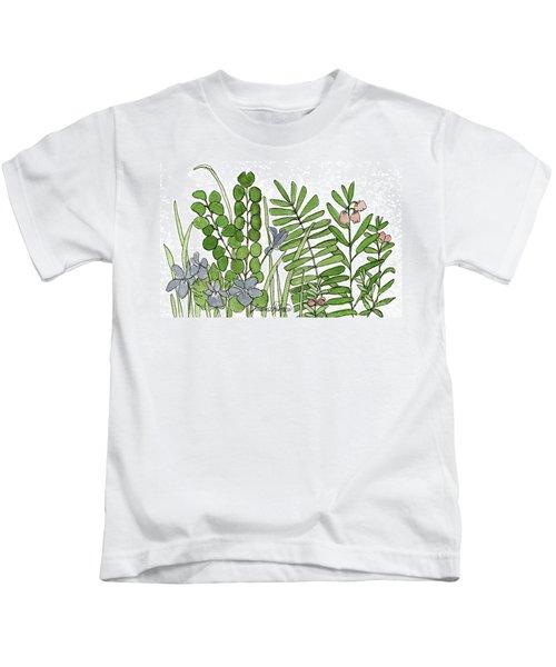 Woodland Ferns Violets Nature Illustration Kids T-Shirt