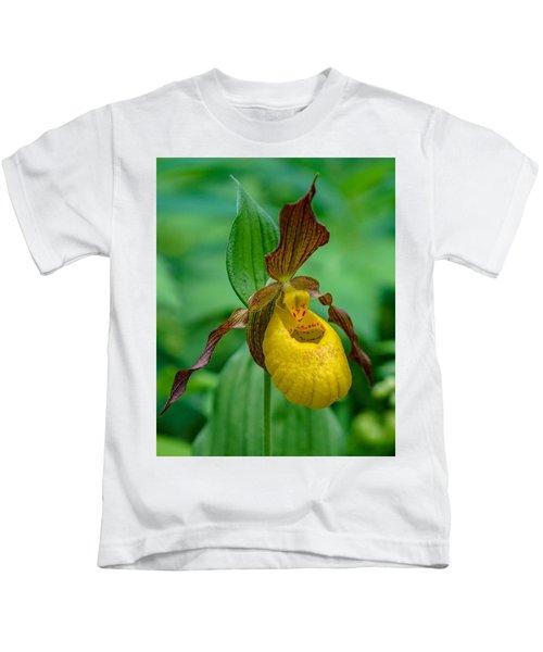 Yellow Lady's Slipper Kids T-Shirt