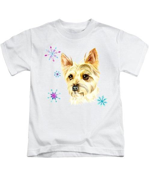 Yorkie Dog And Snowflakes Kids T-Shirt