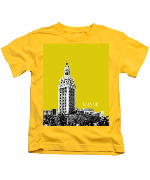 Miami Skyline Freedom Tower - Mustard Kids T-Shirt
