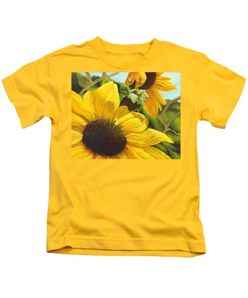 Silver Leaf Sunflowers Kids T-Shirt
