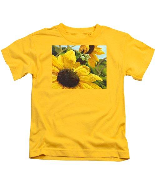Silver Leaf Sunflowers Kids T-Shirt