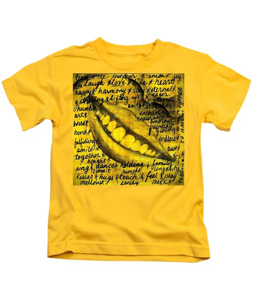 Simply Smile And Your Golden Virtues Will Be Written All Over You Kids T-Shirt