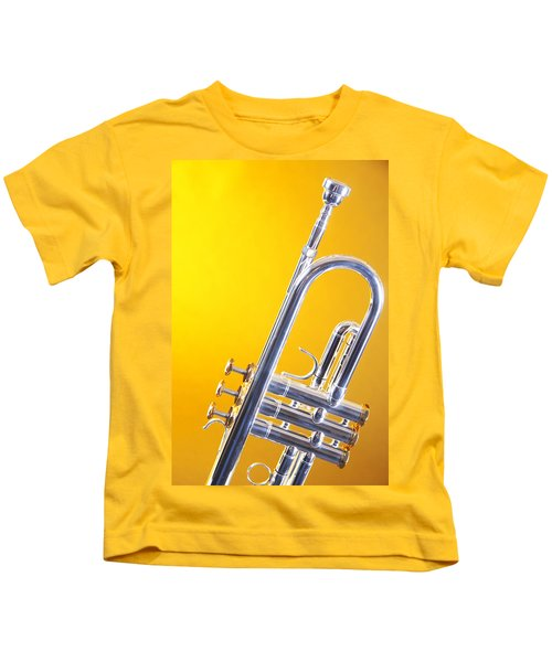 Silver Trumpet Isolated On Yellow Kids T-Shirt