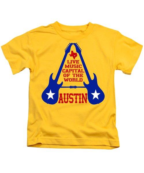 Austin Live Music Capital Of The World Kids T-Shirt by David G Paul