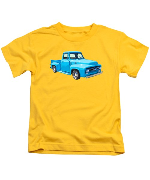 1955 Ford F100 Blue Pickup Truck Canvas Kids T-Shirt by Keith Webber Jr