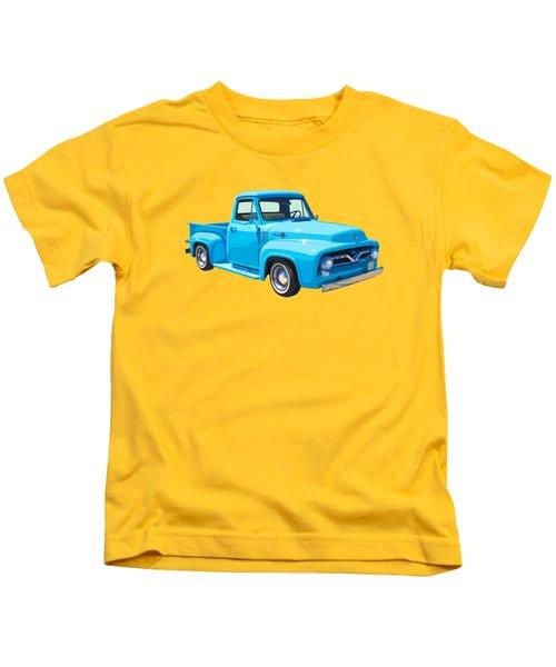 1955 Ford F100 Blue Pickup Truck Canvas Kids T-Shirt