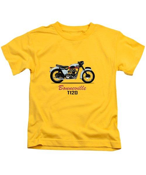 1959 T120 Bonneville Kids T-Shirt by Mark Rogan