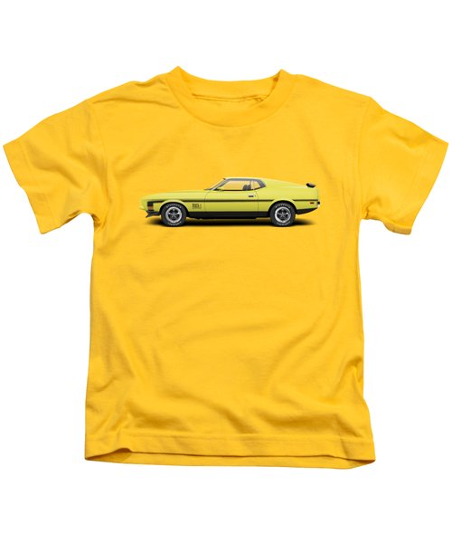 1971 Ford Mustang 351 Mach 1 - Grabber Yellow Kids T-Shirt