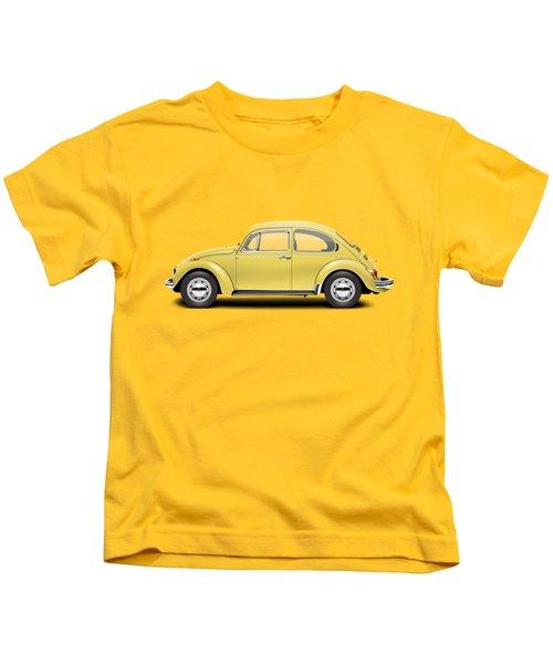 1972 Volkswagen Beetle - Saturn Yellow Kids T-Shirt by Ed Jackson