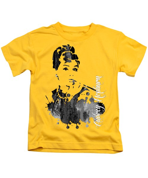 Audrey Hepburn Collection Kids T-Shirt by Marvin Blaine