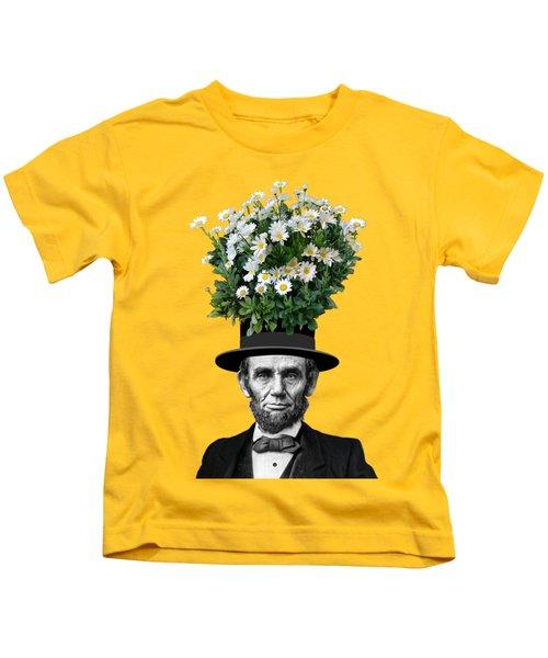 Abraham Lincoln Presidential Daisies Kids T-Shirt by Garaga Designs