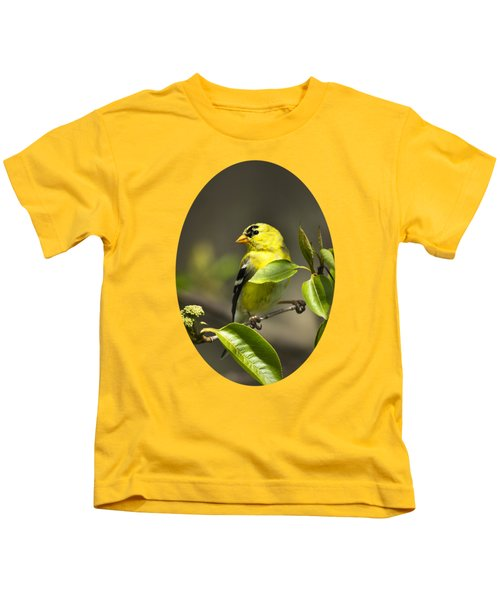American Goldfinch On Branch Kids T-Shirt by Christina Rollo