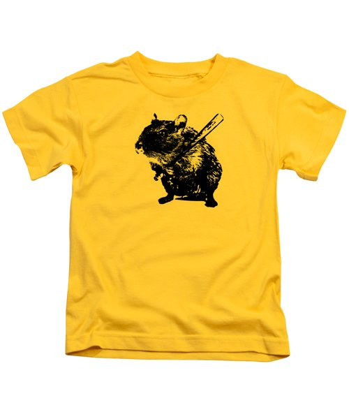 Angry Street Art Mouse  Hamster Baseball Edit  Kids T-Shirt