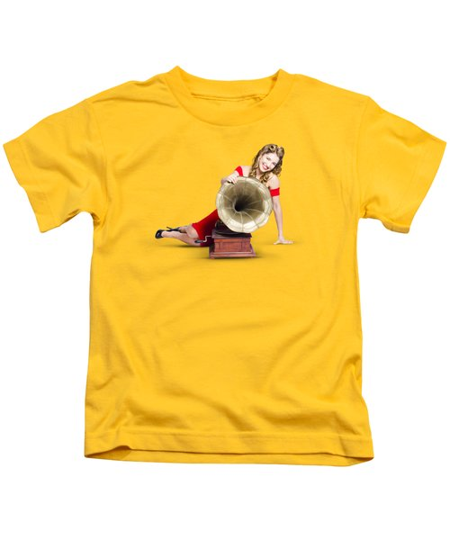 Beautiful Pinup Woman Listening To Old Gramophone Kids T-Shirt