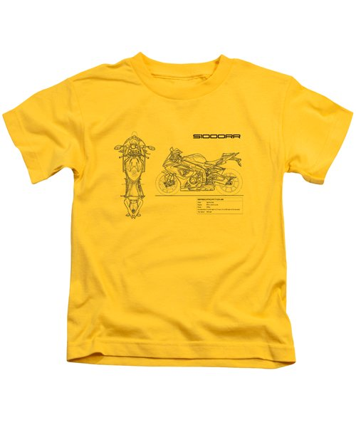 Blueprint Of A S1000rr Motorcycle Kids T-Shirt by Mark Rogan