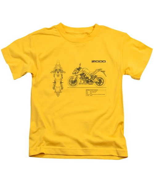 Blueprint Of A Z1000 Motorcycle Kids T-Shirt
