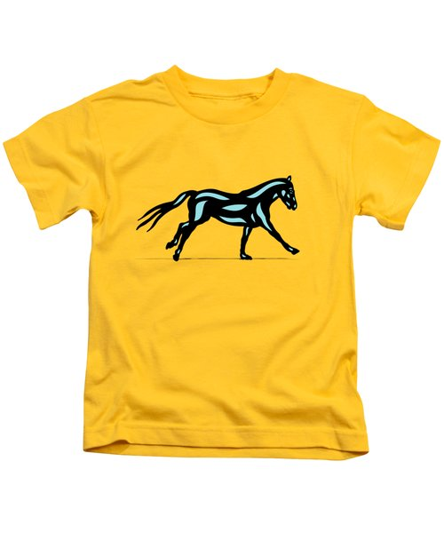 Clementine - Pop Art Horse - Black, Island Paradise Blue, Primrose Yellow Kids T-Shirt