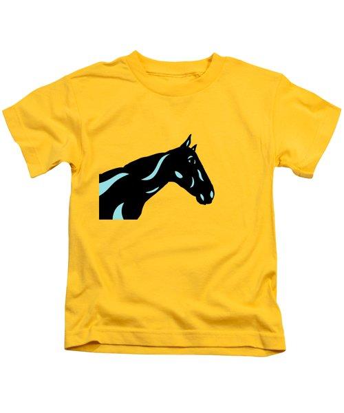 Crimson - Pop Art Horse - Black, Island Paradise Blue, Primrose Yellow Kids T-Shirt