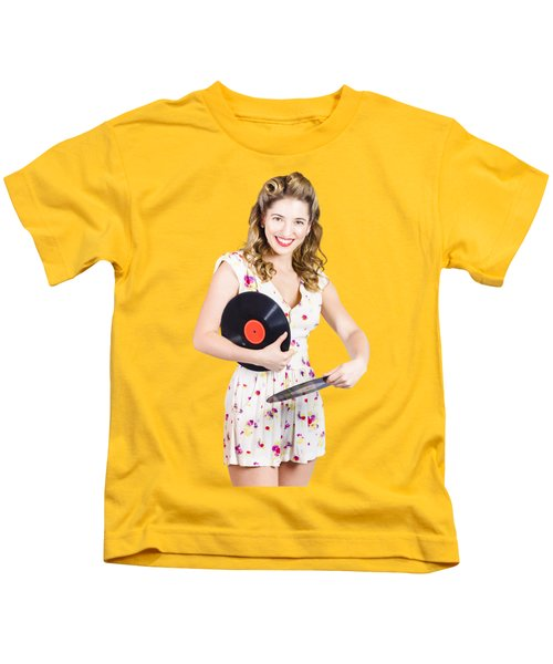 Dj Disco Pin-up Girl Rocking Out To Retro Vinyl  Kids T-Shirt