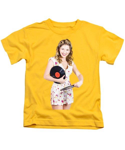 Dj Disco Pin-up Girl Rocking Out To Retro Vinyl  Kids T-Shirt