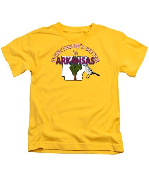 Everything's Better In Arkansas Kids T-Shirt by Pharris Art
