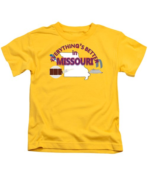Everything's Better In Missouri Kids T-Shirt by Pharris Art