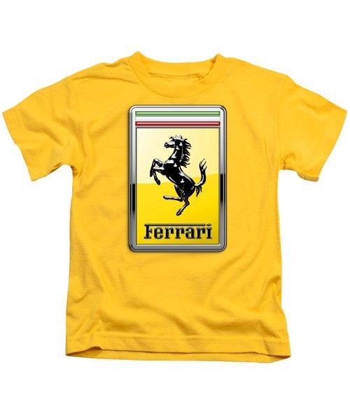 Ferrari 3d Badge- Hood Ornament On Yellow Kids T-Shirt