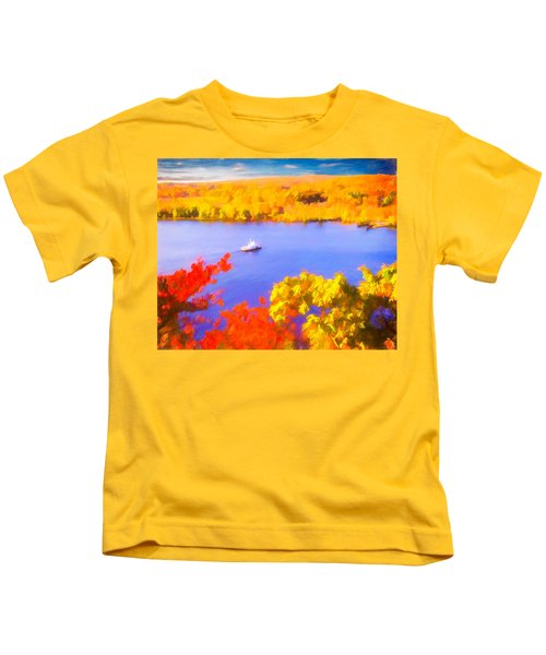 Ferry Crossing Connecticut River. Kids T-Shirt