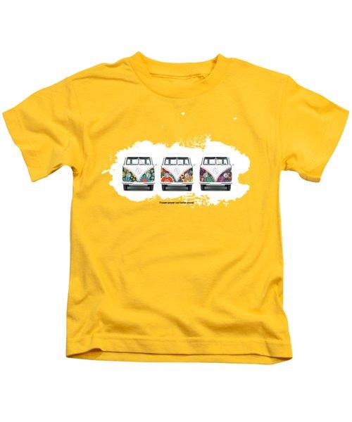 Flower Power Vw Kids T-Shirt by Mark Rogan