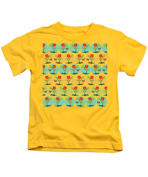 Flowers And Bubbles Pattern Kids T-Shirt