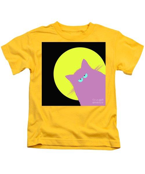 Full Moon Lilac Cat Kids T-Shirt
