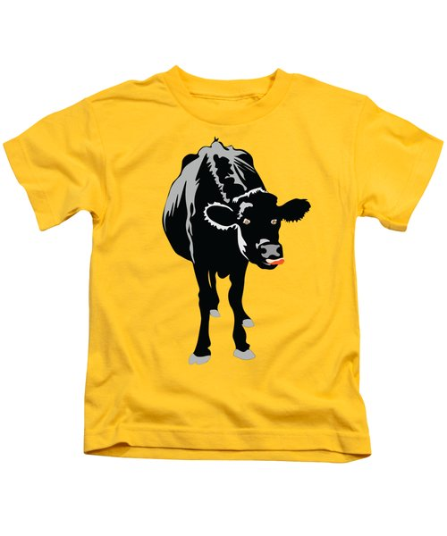 Goofy Looking Black Cow Licks Her Nose Kids T-Shirt