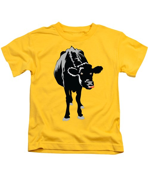 Goofy Looking Black Cow Licks Her Nose Kids T-Shirt
