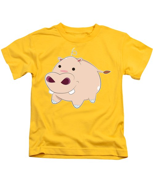 Happy Cartoon Baby Hippo Kids T-Shirt