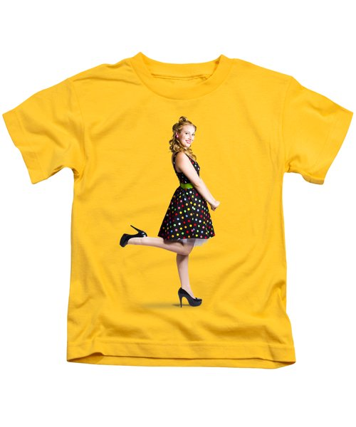 Happy Woman In Retro Dress Kids T-Shirt